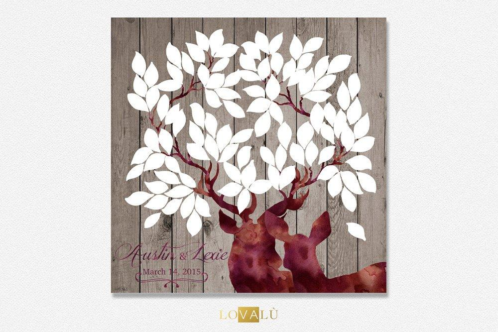 Wedding guest book alternative, Rustic Wedding guest book canvas, valentine's gift personalized, wedding party gift, deer guest signing - LovaluDesign