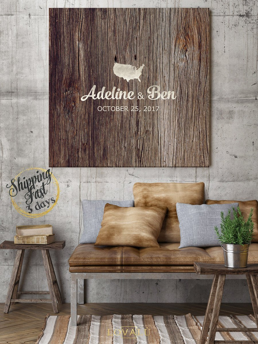 Wedding Guest book alternative - Unique Wedding Guest boook - Custom wedding guest book - High quality wood graphics printed on canvas - LovaluDesign
