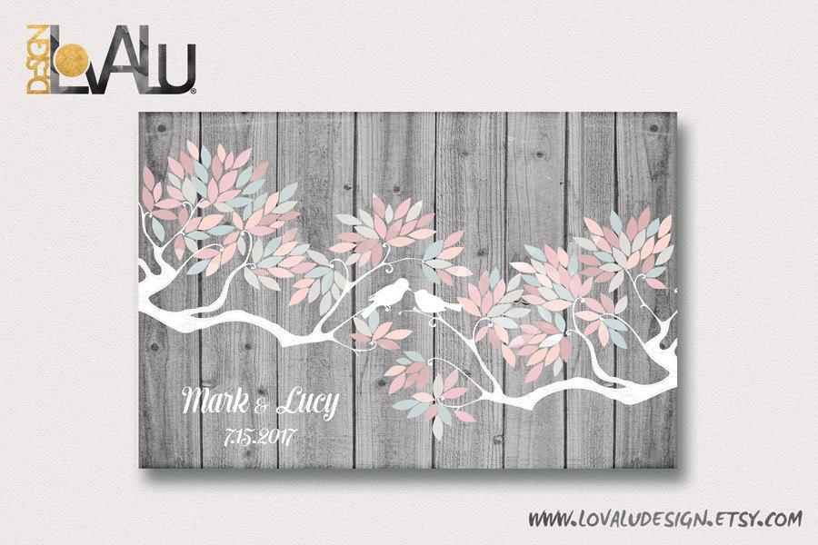 Wedding guest book alternative Wedding guest book canvas night sky wedding guestbook love birds wedding personalized tree family tree - LovaluDesign