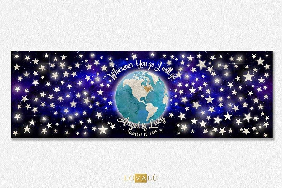 Wedding guest book alternative World Map, Custom World Map, Guest Book Alternative earth with star, Love Map, Travel the World Map - LovaluDesign