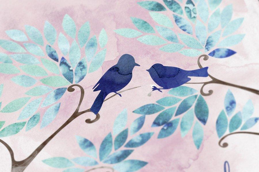 Wedding Guest book alternatives on canvas Triptych Branches with birds Wedding watercolor guestbook pale blue pink guest book ideas wishes - LovaluDesign