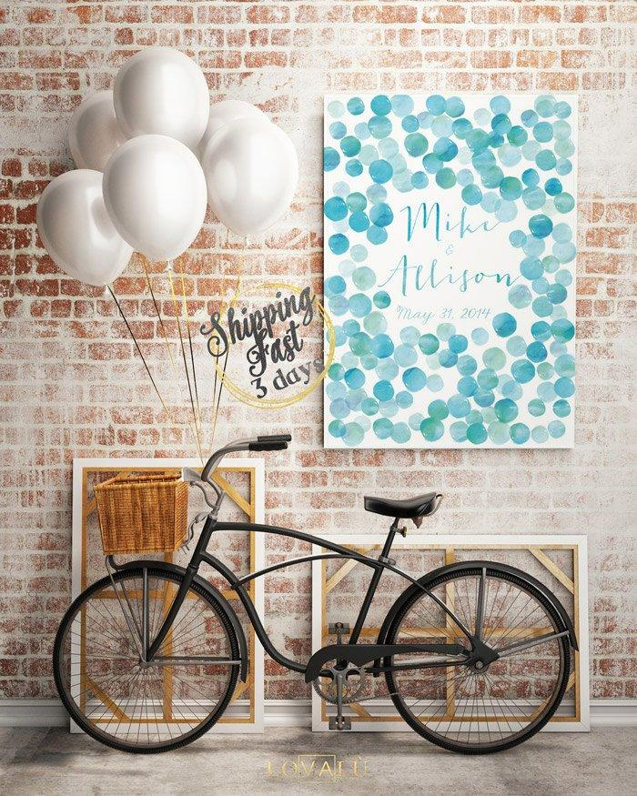 Wedding Guest Book Carnival Alternative guestbook on canvas Watercolor Confetti Circle Confetti Bridal Shower Wedding gift Wedding lightblue - LovaluDesign