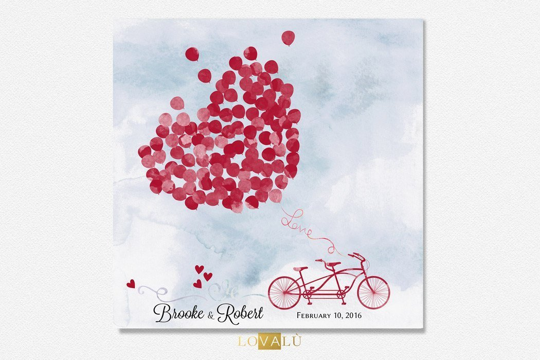 Wedding guest book In Tandem, Rustic Wedding GuestBook, Alternative Guestbook tandem balloon, Custom Guest Book Tandem Bike, Bohemian Theme - LovaluDesign