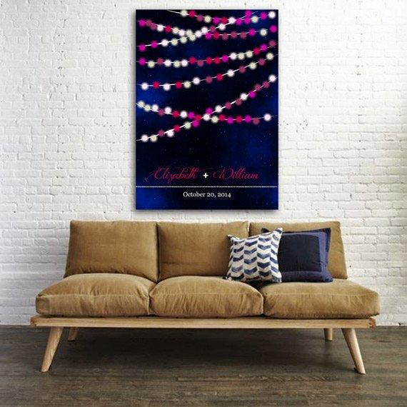 Wedding guest book Lights in the night. Wedding Guestbook. Print on canvas 100 signatures. Choose your color and number of lights - LovaluDesign