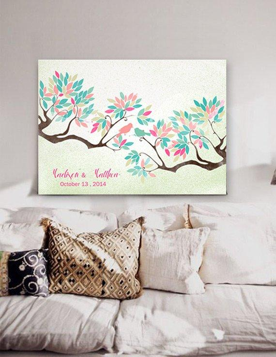 Wedding Guest book tree on canvas 200 sign with birds in love water pastel nuanced colour leaves on background shabby Choose your colours - LovaluDesign