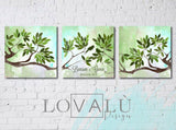 Wedding Guest book tree on canvas with birds in love. Olive green wedding. Choose your colours - LovaluDesign