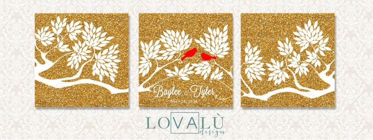 Wedding Guest book tree on canvas with birds in love white colour leaves on gold glitter background Choose your colours - LovaluDesign
