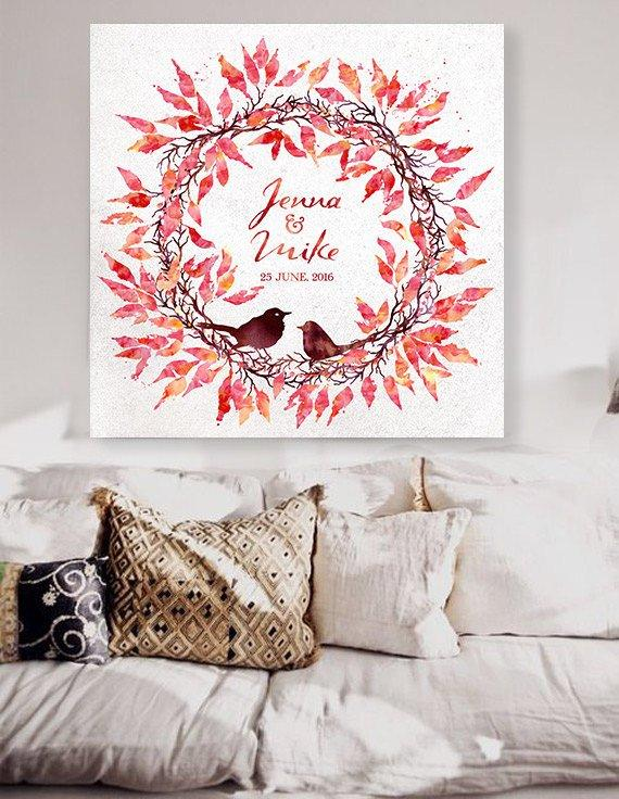 wedding guest book with a birds nest. Fall. Custom Wedding Guestbook Alternative Wedding Print Guest Book Custom canvas wedding guest book - LovaluDesign