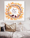 Wedding guest book with a birds nest. Orange Custom Wedding Guestbook Alternative Wedding Print Guest Book Custom canvas wedding guest book - LovaluDesign