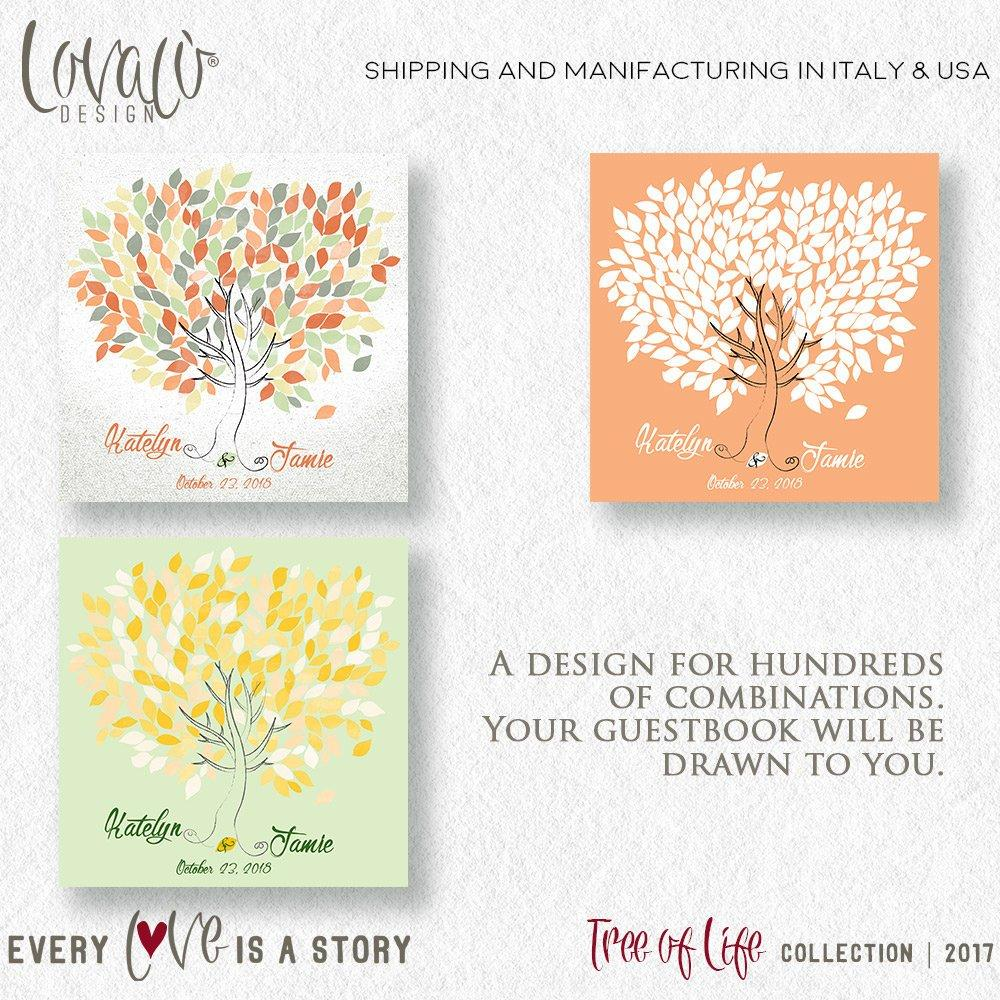 Wedding Guestbook watercolor tree on canvas Wedding Guestbook Custom Guest Book Alternative Wedding Guest Books Rustic Unique Guest Book - LovaluDesign