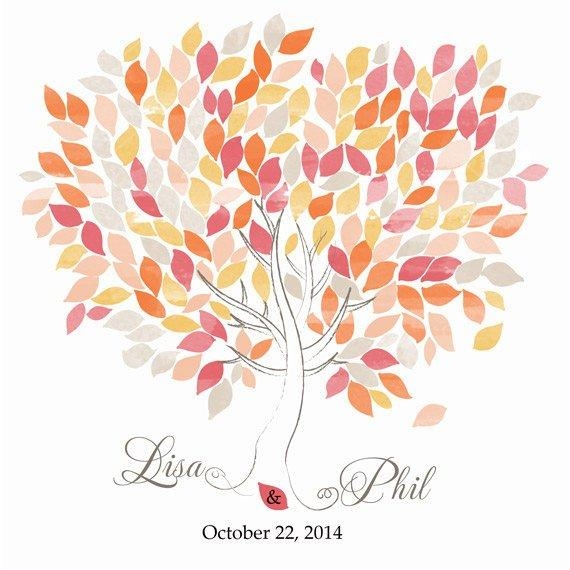 Wedding GuestBook. Wedding Tree watercolor. 200 Leaves yellow orange hot pink. Choose your colours and number leaves - LovaluDesign