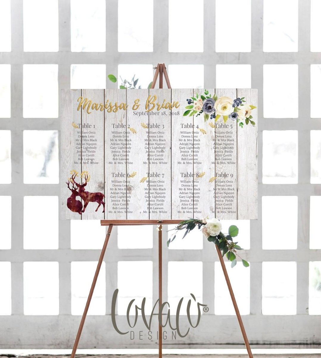 Wedding seating chart printable, Gold guests list watercolor printable, Boho guest list seating chart floral, Rustic Deers Tabeau de Mariage - LovaluDesign
