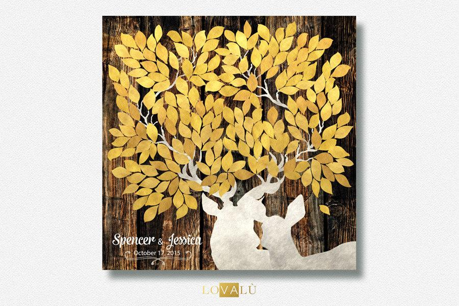 Winter Rustic guest book with deers white gold. Print on canvas or paper. Personalised colors and leaves number. - LovaluDesign