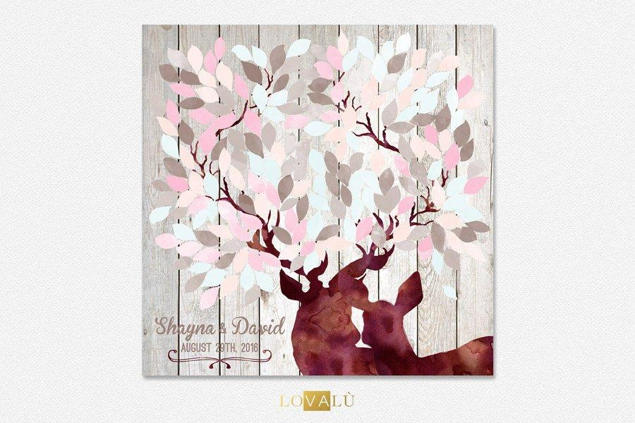 Woodland guest book Rose Quartz & pale blue, Deer Doe Couples Wedding Gift, Anniversary Present, Personalized Wedding Gift, guestbook canvas - LovaluDesign