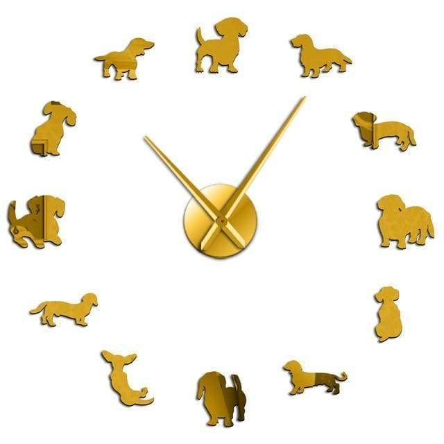 #1 Dachshund Wall Clock - Gold / 47 Inch
