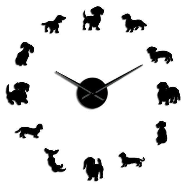 #1 Dachshund Wall Clock - Black / 47 Inch