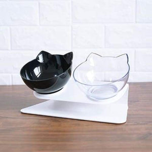Anti-vomiting Orthopedic Pet Bowl - Black x transparent / free size