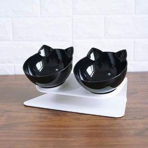 Anti-vomiting Orthopedic Pet Bowl - double Black / free size