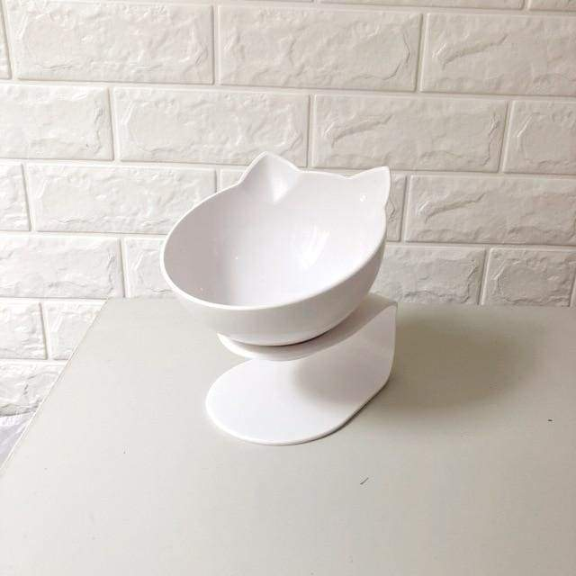 Anti-vomiting Orthopedic Pet Bowl - single white / free size