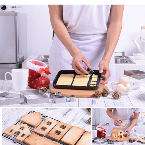 Build-it-yourself Ginger bread house 3D Baking/Cutting Moulds - 18 pcs Stainless Steel