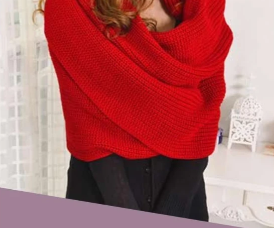 Convertible Knitted Scarf Shawl with Sleeves - Fashion