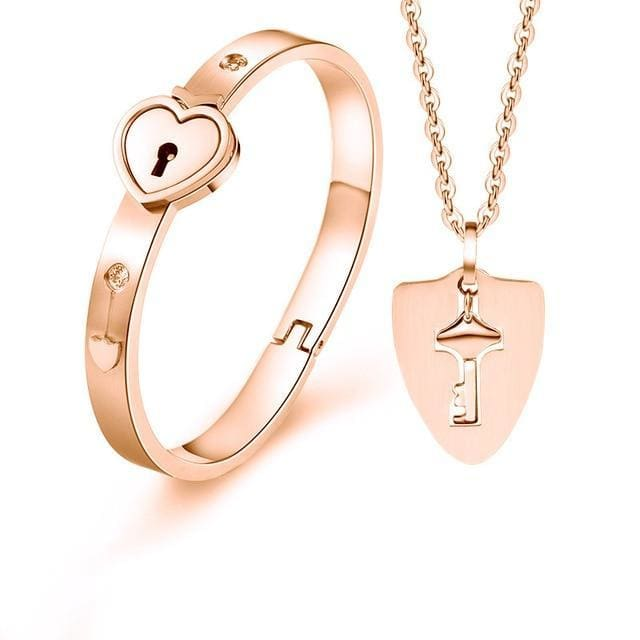 Couples Jewelry Set - Heart Bracelet and Key Necklace - Rose Gold-Heart / 45cm - fashion