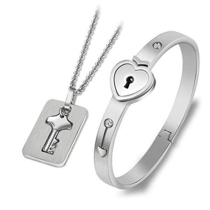 Couples Jewelry Set - Heart Bracelet and Key Necklace - Silver-Square / 45cm - fashion