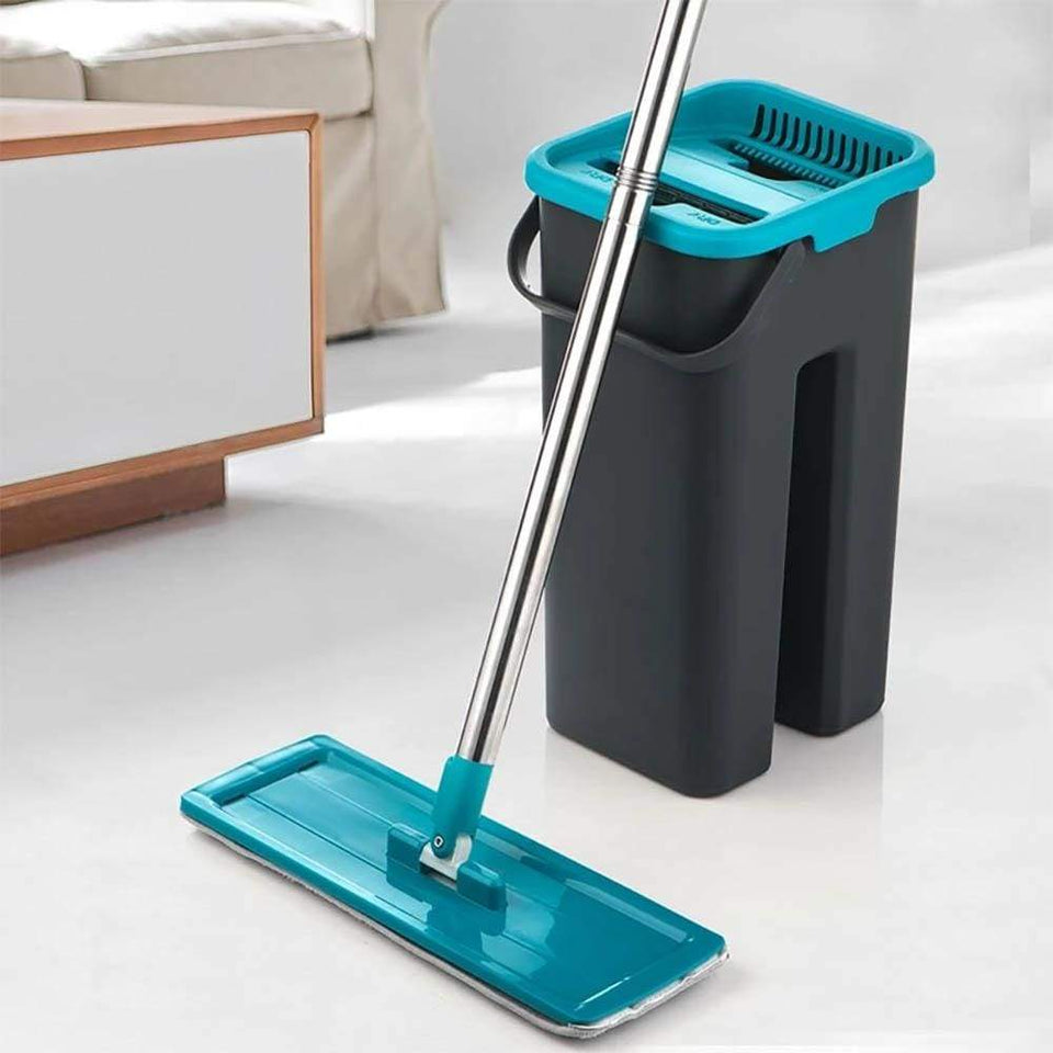 Flat Squeeze Mop and Bucket - Blue - Black / China - Home & Garden