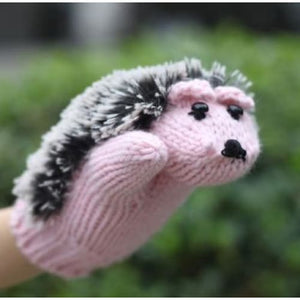 Hedgehog Knit Mittens - Pink / One Size - fashion