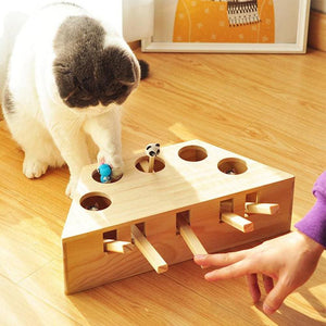 Interactive Wooden Cat Whack Toy - Pet supplies