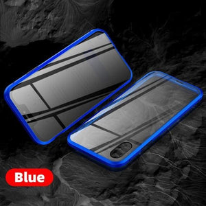 Magnetic Tempered Glass Privacy Metal Phone Case - For Iphone 6P 6SP / Blue - phone accessories