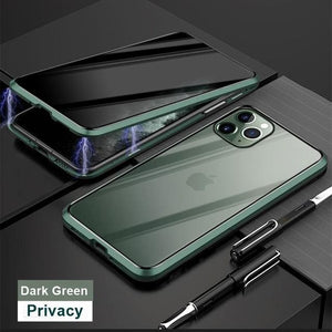 Magnetic Tempered Glass Privacy Metal Phone Case - For Iphone 7 Plus / Dark Green - phone accessories