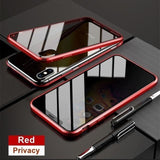 Magnetic Tempered Glass Privacy Metal Phone Case - For Iphone XR / Red - phone accessories