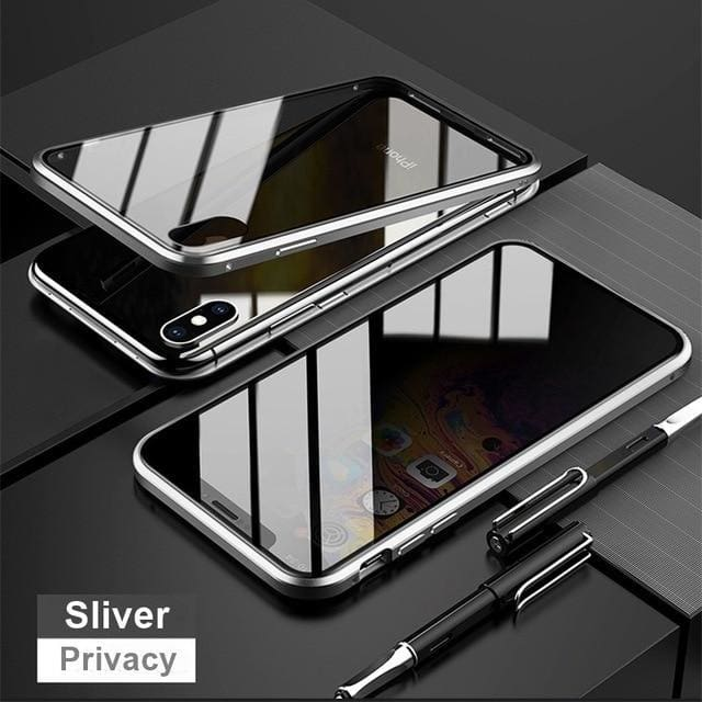 Magnetic Tempered Glass Privacy Metal Phone Case - For Iphone XR / Sliver - phone accessories