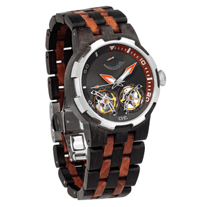 Men's Dual Wheel Automatic Ebony & Rosewood Watch - Watches