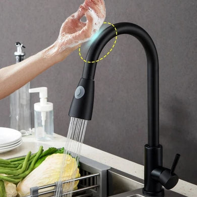 SmartFaucet - Smart Touch Sensor Kitchen Faucet with Pull Down Sprayer and Adjustable Stream - Consumer Goods