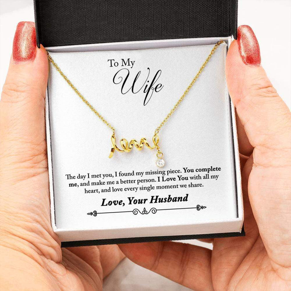 Spell Out Love - Necklace - 18k Yellow Gold Scripted Love - Jewelry