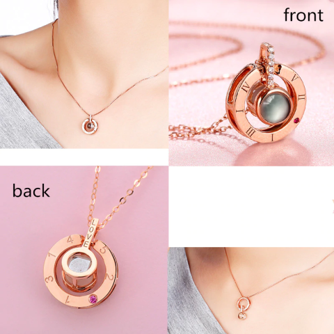 1 I love you Projection Pendant Necklace