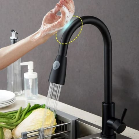 SmartFaucet - Smart Touch Sensor Kitchen Faucet with Pull Down Sprayer and Adjustable Stream