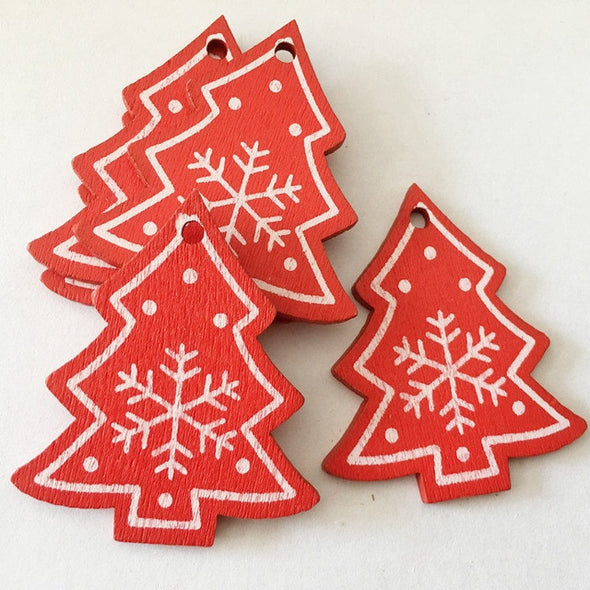 Natural Wood Christmas Pendants (10pcs)