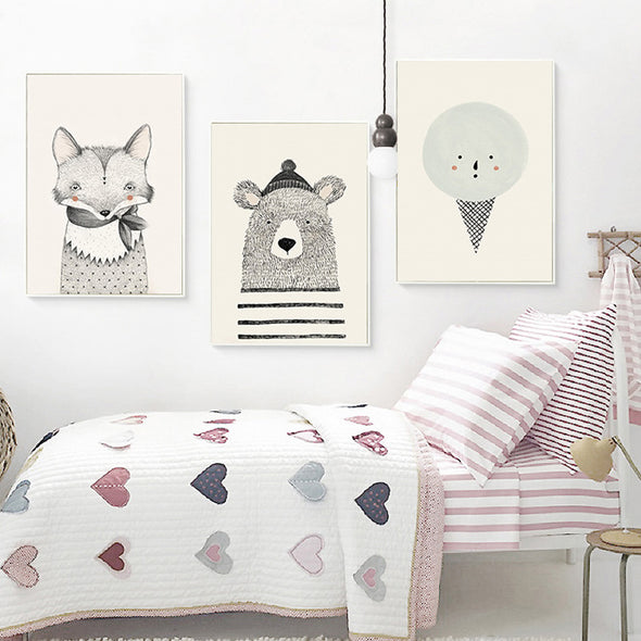 Bear, Fox & Cone on Canvas