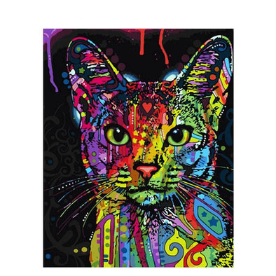 DIY Paint By Numbers on Canvas - Cat