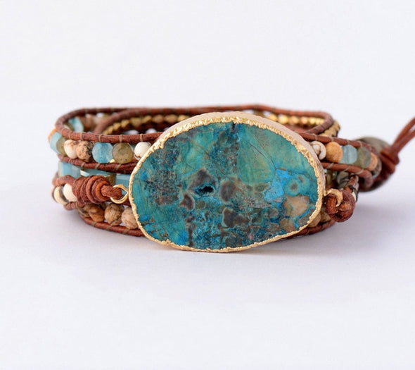 Mixed Natural Gilded Stone Bracelet
