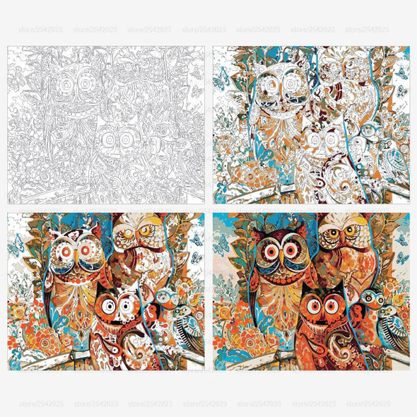 DIY Paint by Numbers on Canvas - Owl