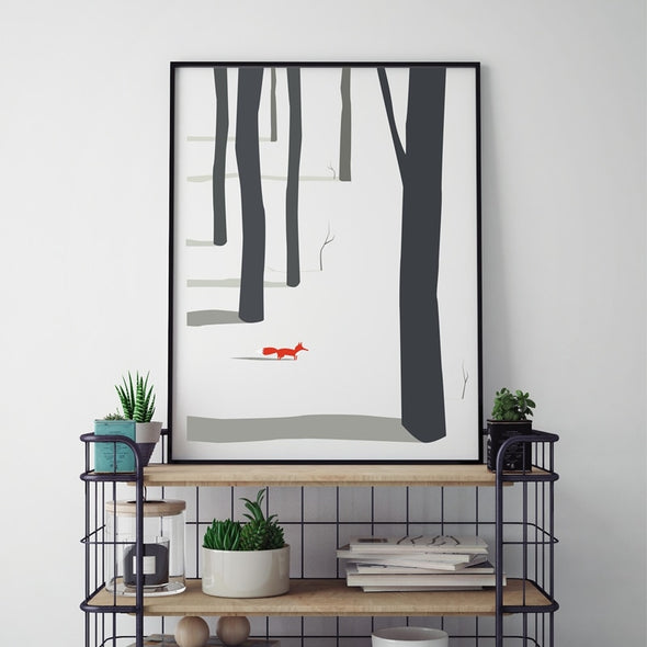 Fox in the Woods on Canvas