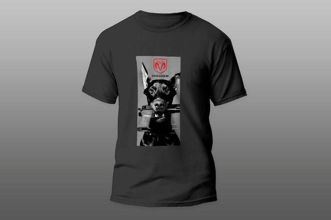 Angry dog with gun Dodge logo T-shirt