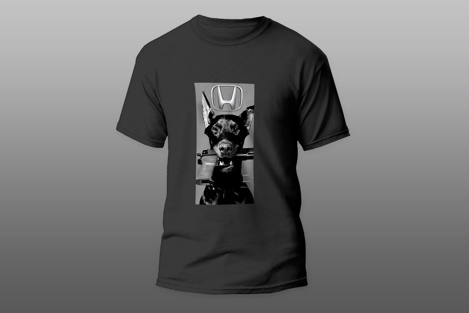 Angry dog with gun Honda logo T-shirt