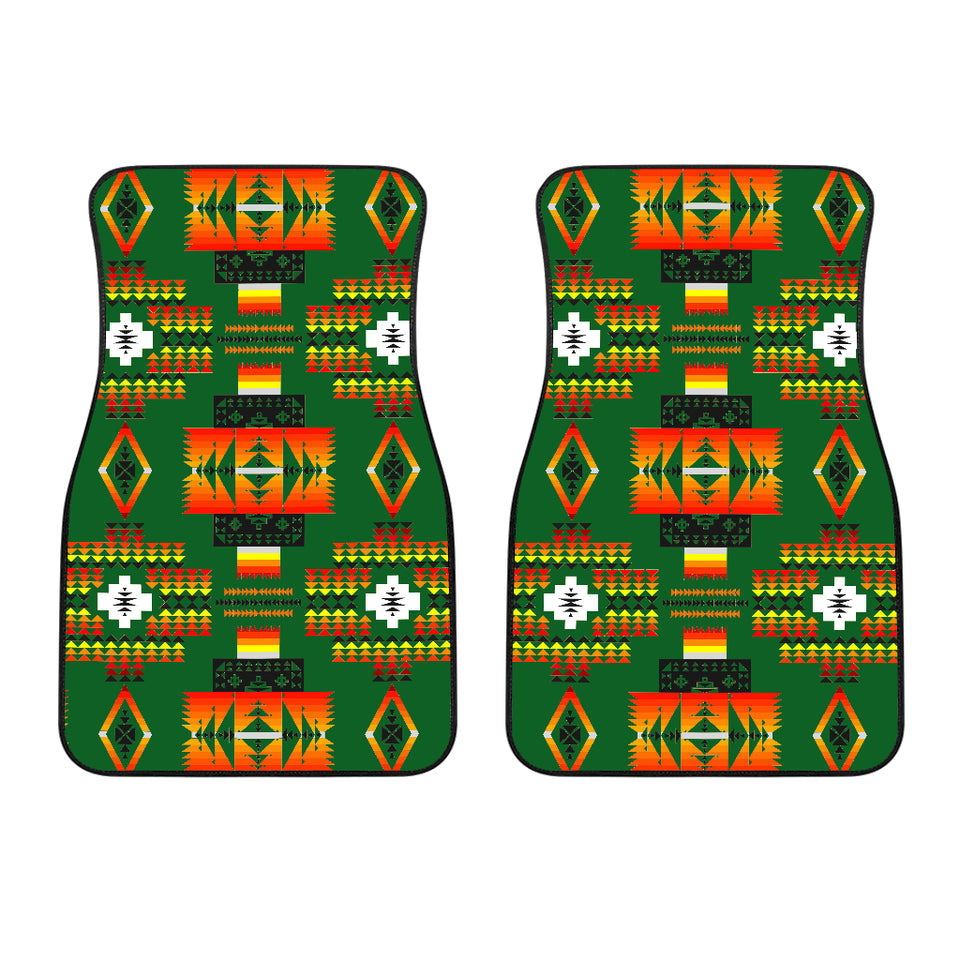 Seven Tribes Green Front Car Mats (Set Of 2)