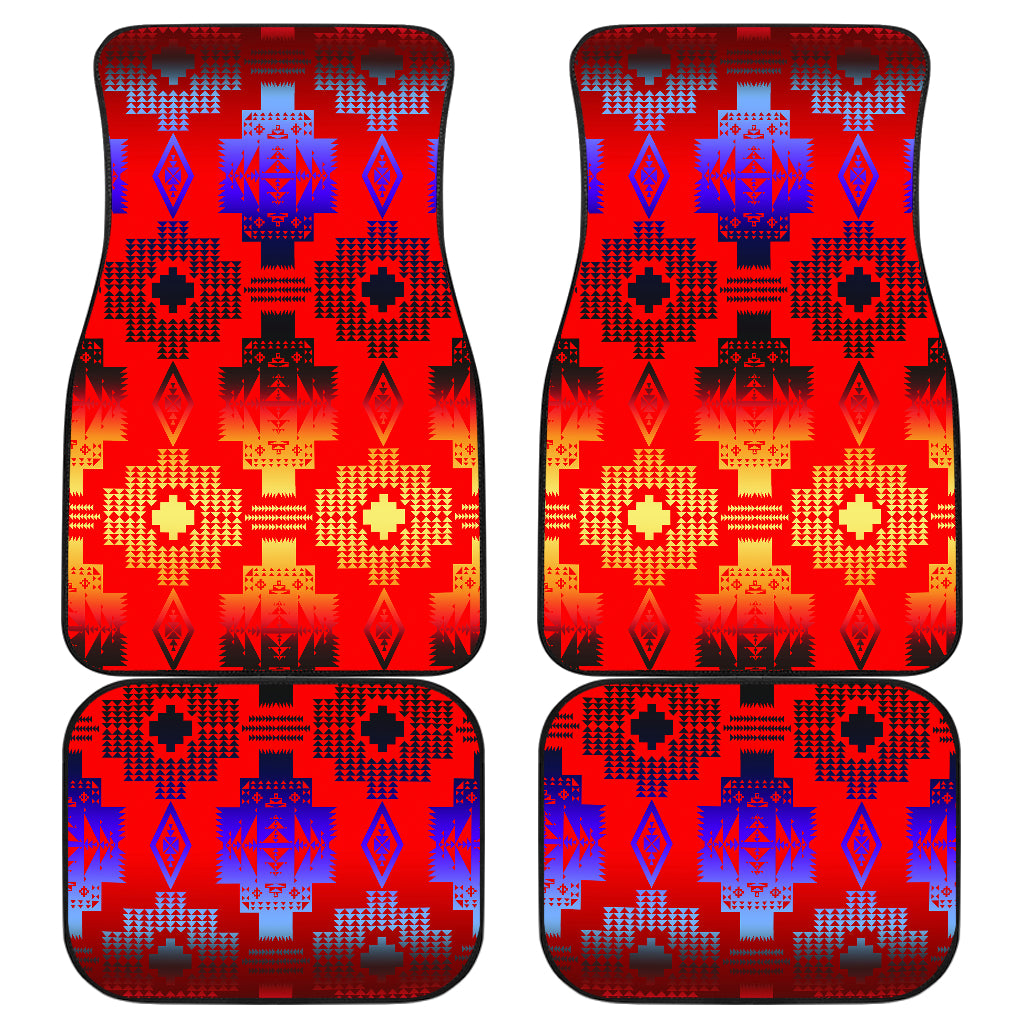 Seven Tribes Horizon Red Front And Back Car Mats (Set Of 4)