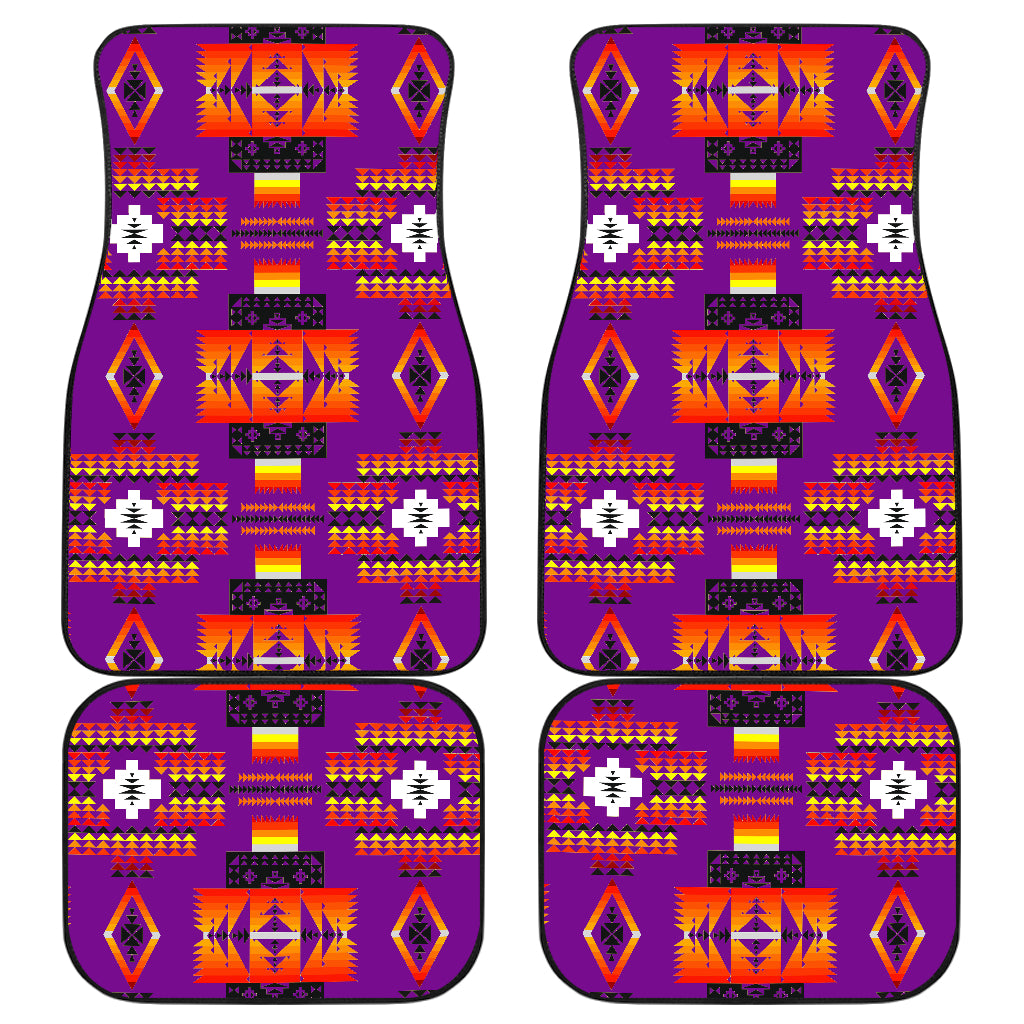 Seven Tribes Purple Front And Back Car Mats (Set Of 4)